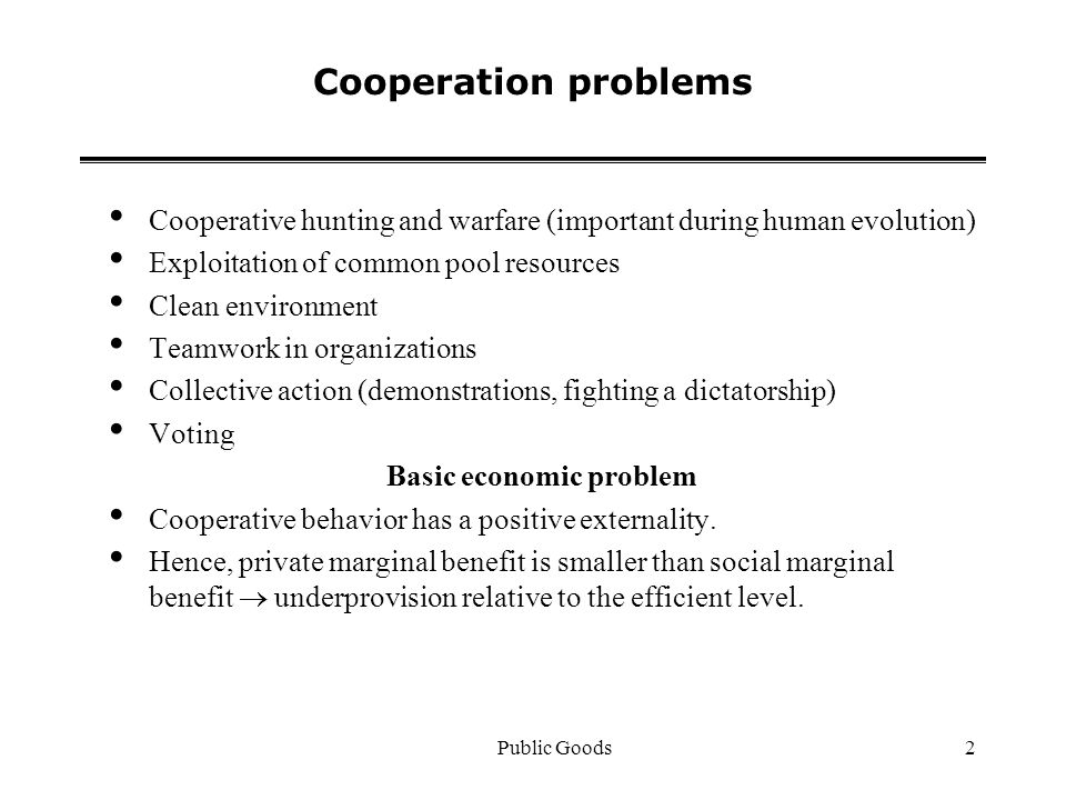 Public Goods2 Cooperation problems Cooperative hunting and warfare (important during human evolution) Exploitation of common pool resources Clean environment Teamwork in organizations Collective action (demonstrations, fighting a dictatorship) Voting Basic economic problem Cooperative behavior has a positive externality.