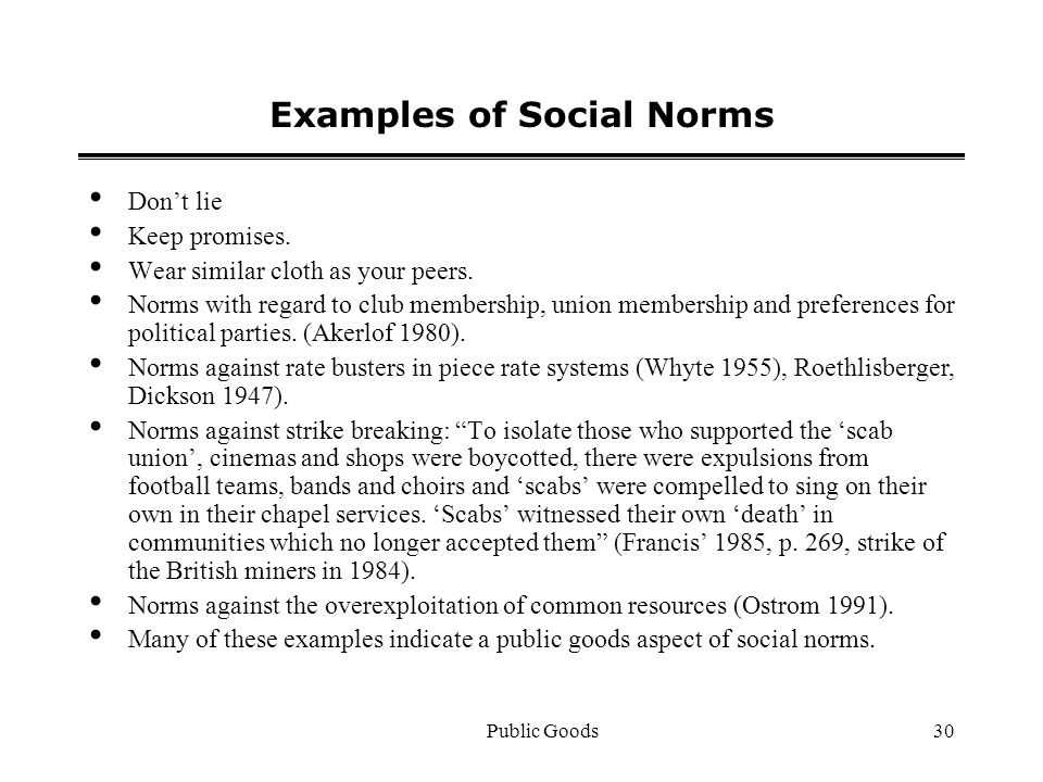 Public Goods30 Examples of Social Norms Dont lie Keep promises.