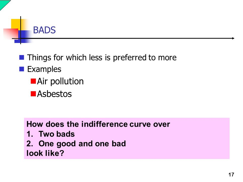 17 BADS Things for which less is preferred to more Examples Air pollution Asbestos How does the indifference curve over 1.Two bads 2.One good and one