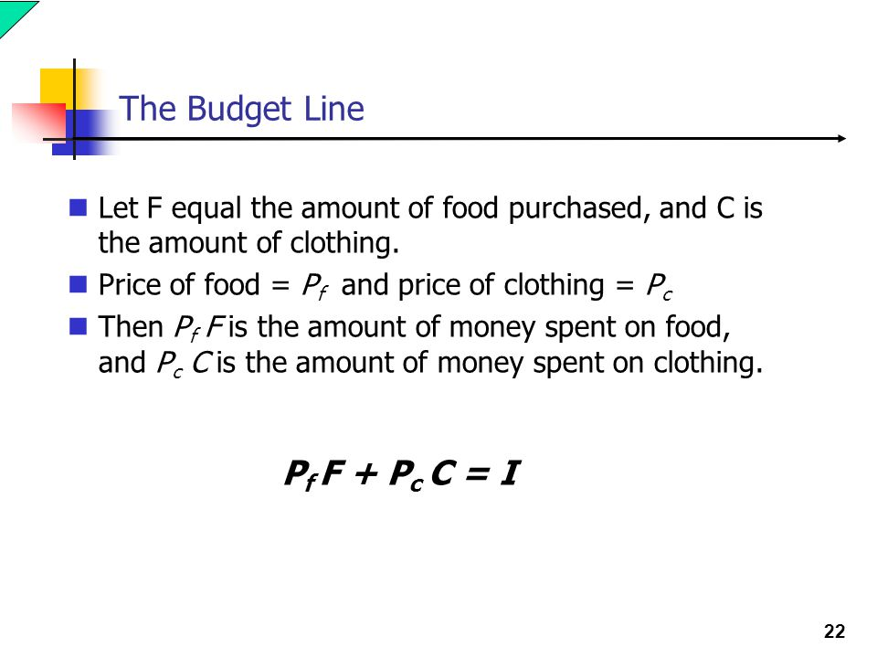 22 The Budget Line Let F equal the amount of food purchased, and C is the amount of clothing. Price of food = P f and price of clothing = P c Then P f