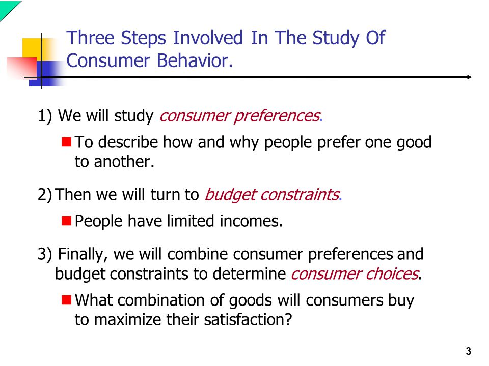 3 Three Steps Involved In The Study Of Consumer Behavior. 1) We will study consumer preferences. To describe how and why people prefer one good to ano