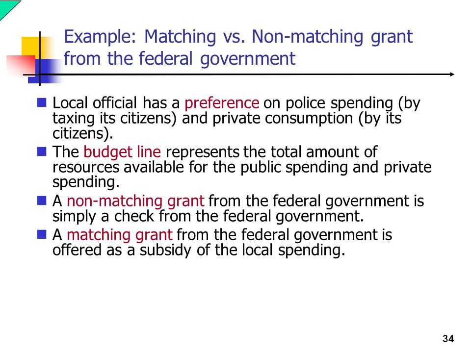 34 Example: Matching vs. Non-matching grant from the federal government Local official has a preference on police spending (by taxing its citizens) an