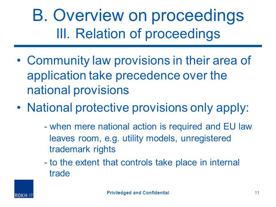 B. Overview on proceedings III. Relation of proceedings Community law provisions in their area of application take precedence over the national provis