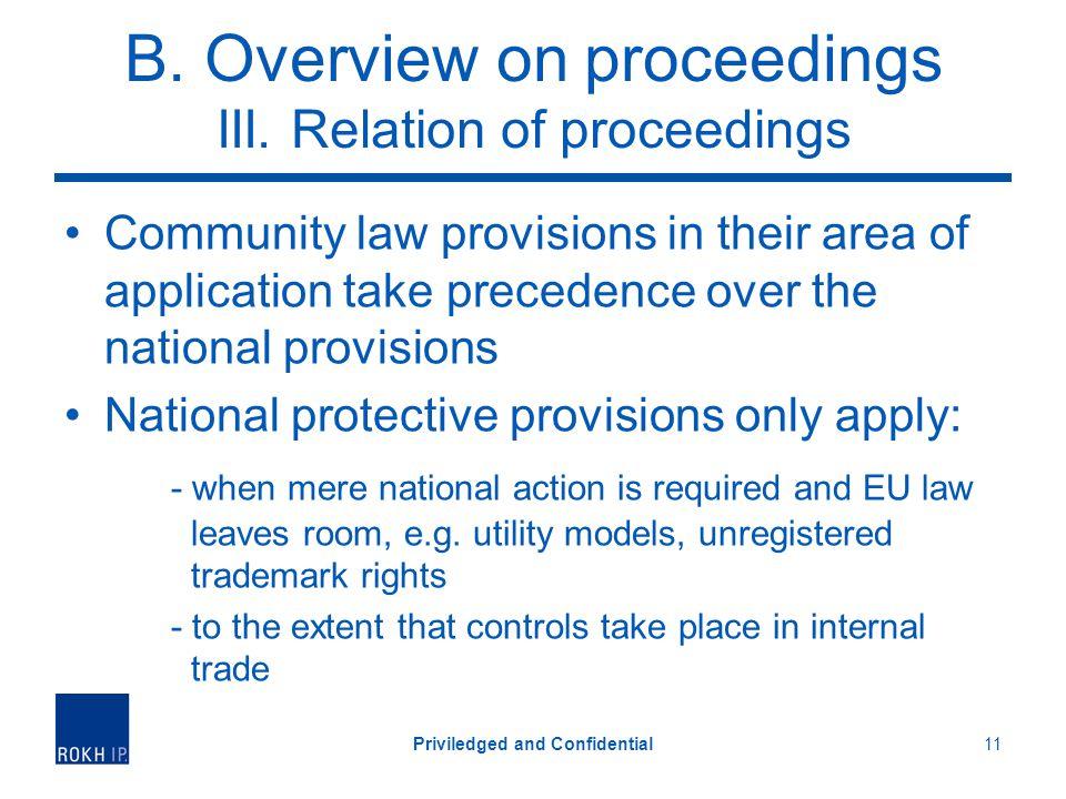 B. Overview on proceedings III.