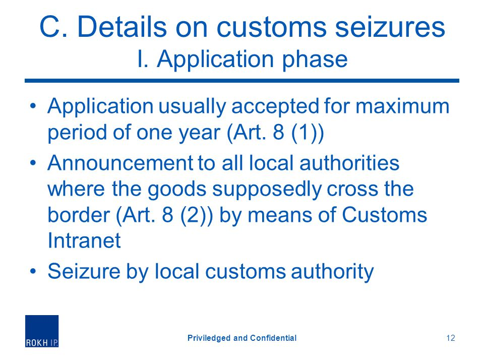 C.Details on customs seizures I.