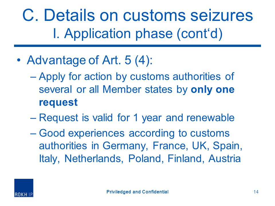 C. Details on customs seizures I. Application phase (contd) Advantage of Art.