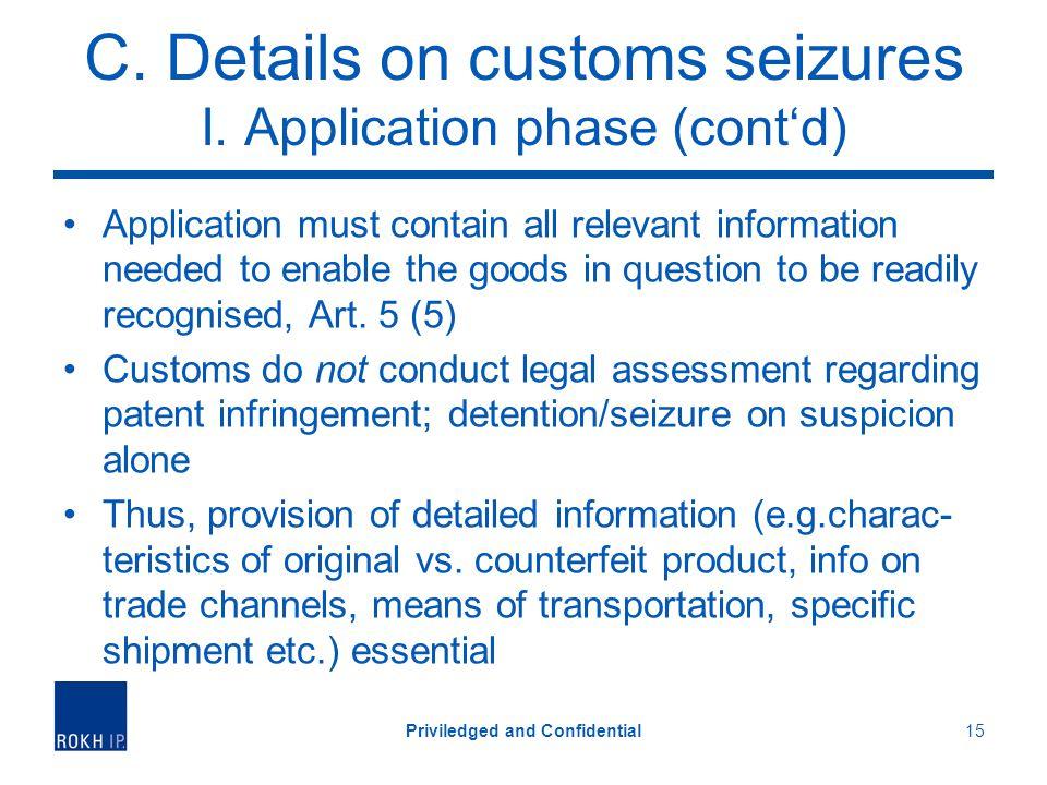 C. Details on customs seizures I.