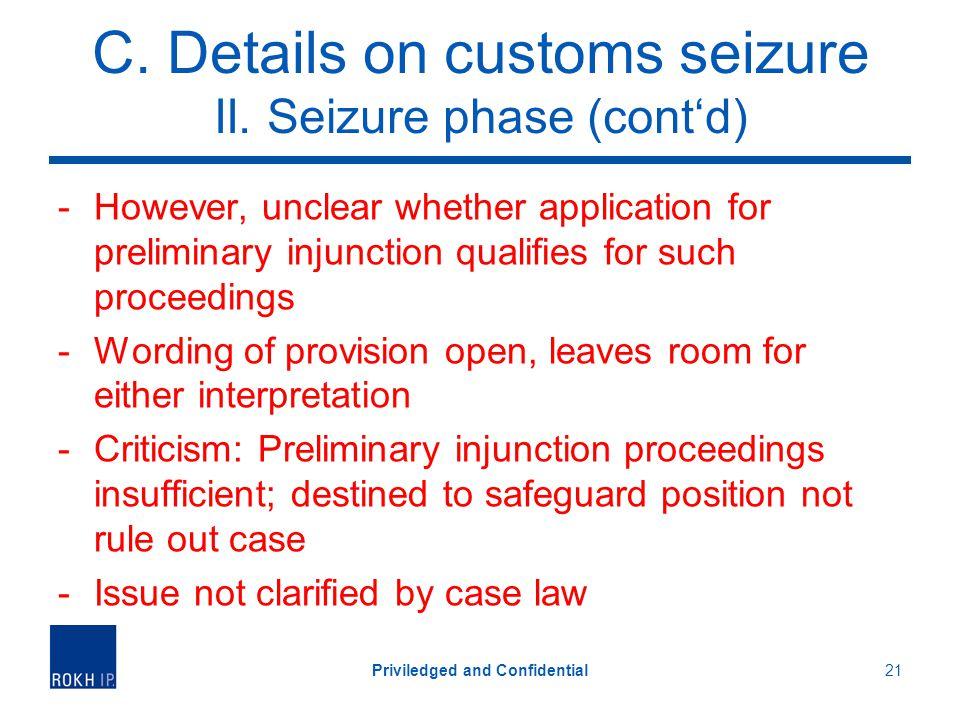 C. Details on customs seizure II.