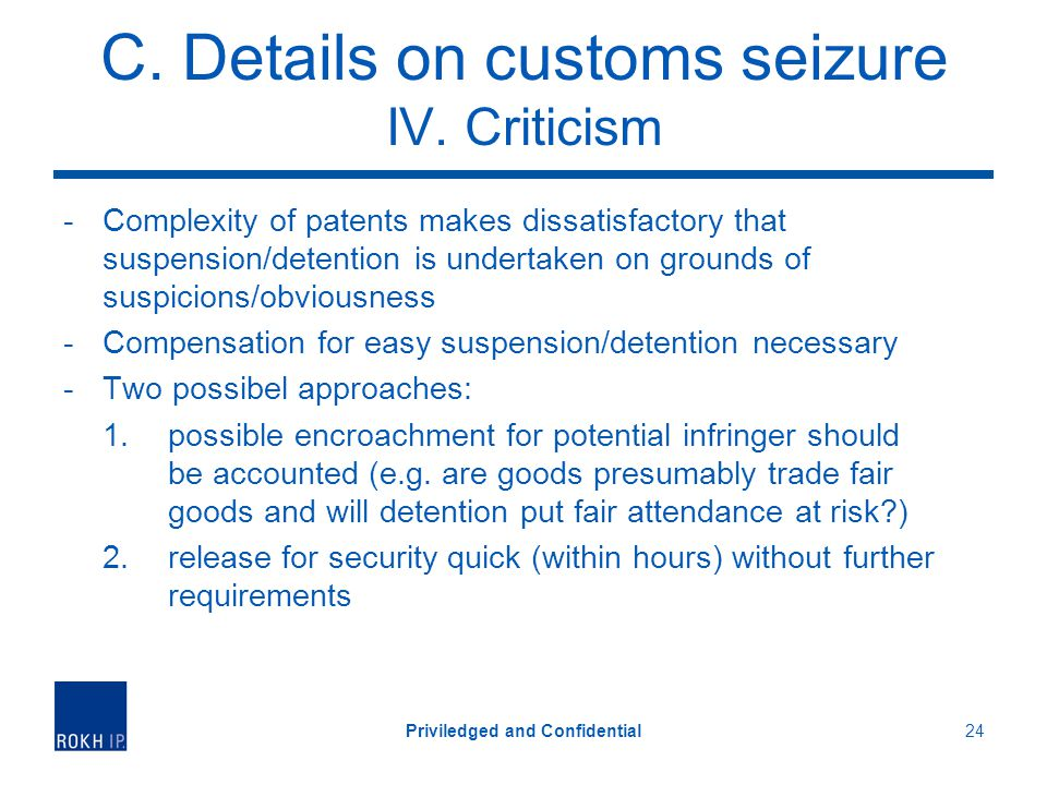 C.Details on customs seizure IV.