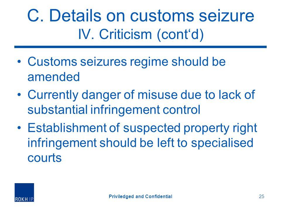 C. Details on customs seizure IV.
