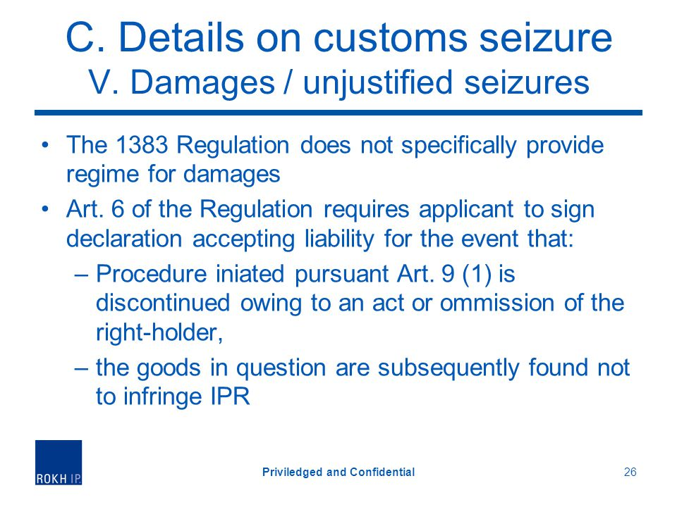 C.Details on customs seizure V.