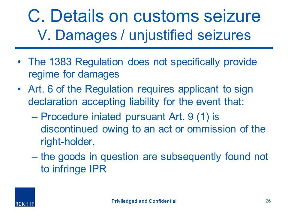 C. Details on customs seizure V.