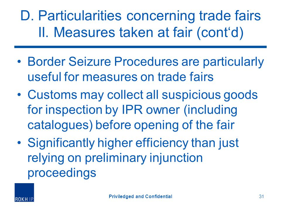 D.Particularities concerning trade fairs II.