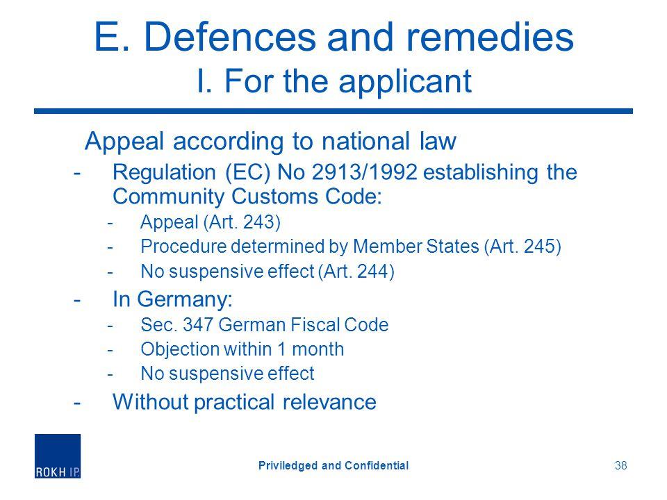 E. Defences and remedies I.
