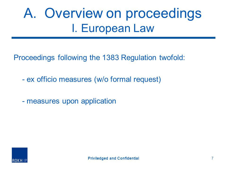 A. Overview on proceedings I.
