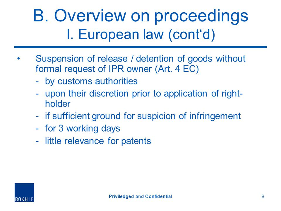 B. Overview on proceedings I.