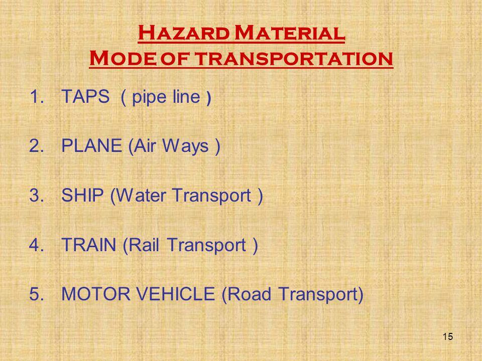 Hazard Material M ODE OF TRANSPORTATION 1.TAPS ( pipe line ) 2.PLANE (Air Ways ) 3.SHIP (Water Transport ) 4.TRAIN (Rail Transport ) 5.MOTOR VEHICLE (Road Transport) 15