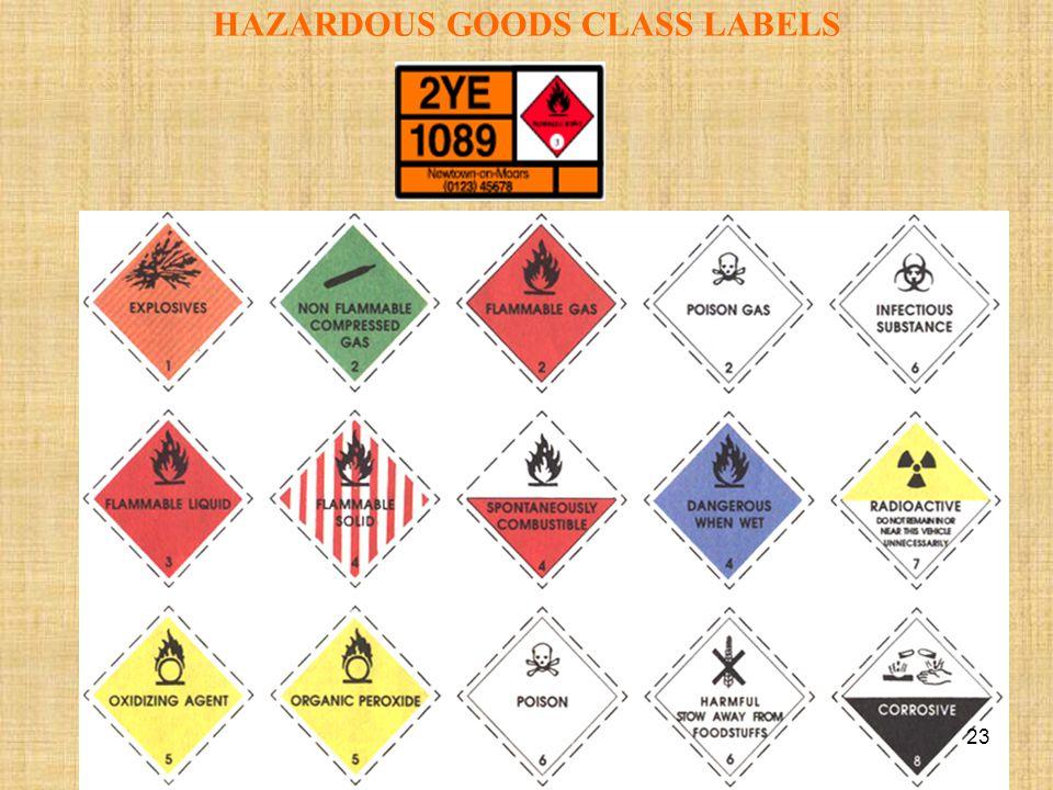 HAZARDOUS GOODS CLASS LABELS 23