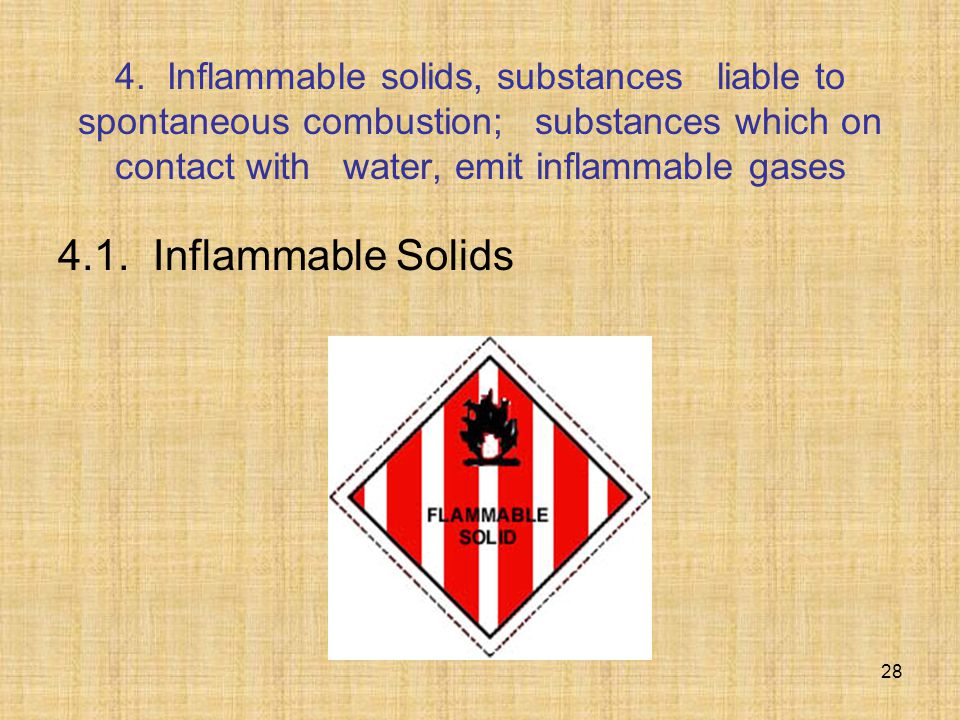 4. Inflammable solids, substances liable to spontaneous combustion; substances which on contact with water, emit inflammable gases 4.1. Inflammable So