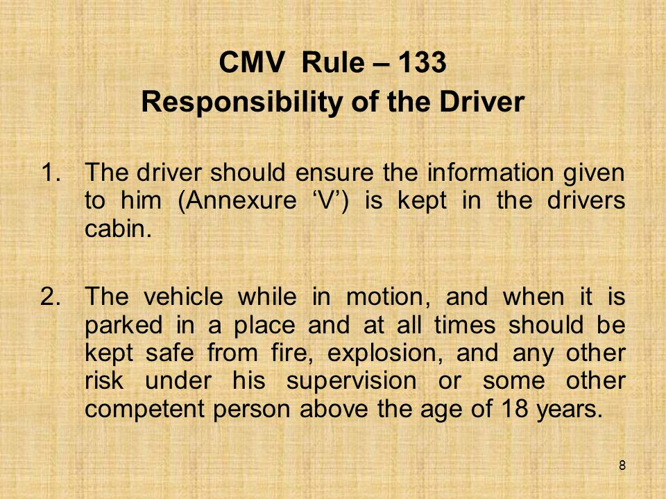 CMV Rule – 134 Emergency information panel as specified should be placed on vehicles 9