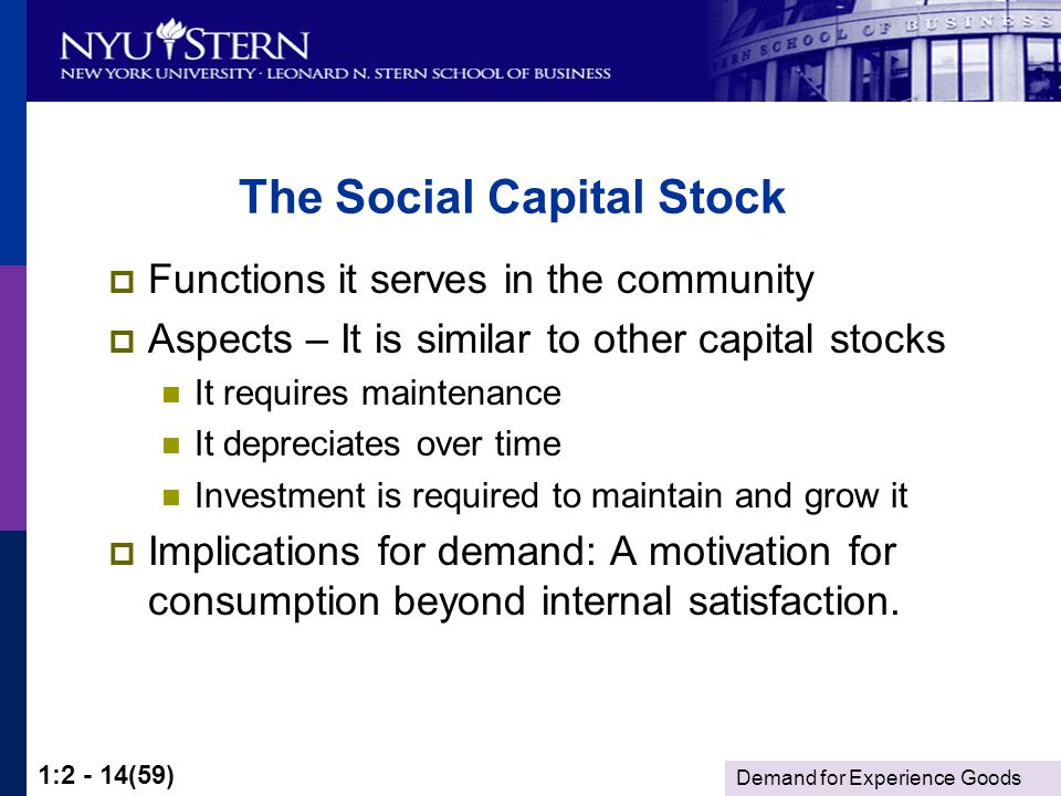 Demand for Experience Goods 1:2 - 14(59) The Social Capital Stock Functions it serves in the community Aspects – It is similar to other capital stocks It requires maintenance It depreciates over time Investment is required to maintain and grow it Implications for demand: A motivation for consumption beyond internal satisfaction.