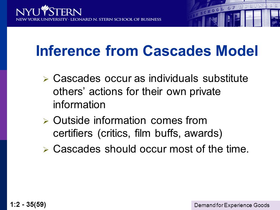 Demand for Experience Goods 1:2 - 35(59) Inference from Cascades Model Cascades occur as individuals substitute others actions for their own private information Outside information comes from certifiers (critics, film buffs, awards) Cascades should occur most of the time.