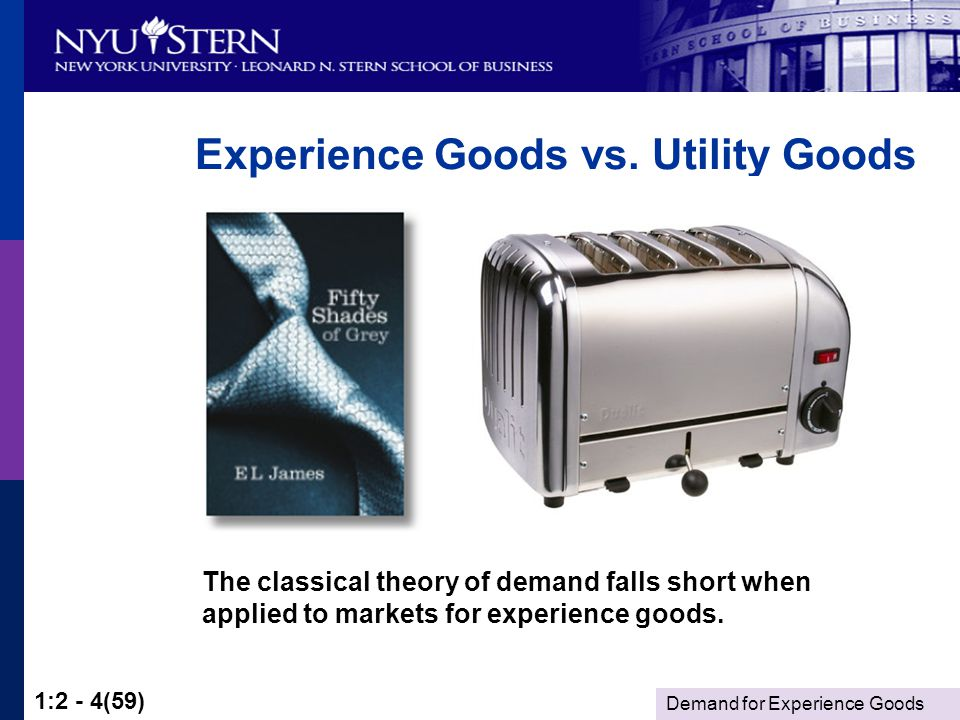 Demand for Experience Goods 1:2 - 4(59) Experience Goods vs.
