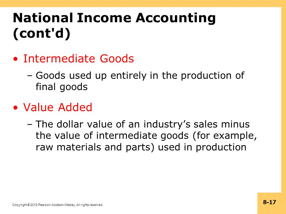 Copyright © 2012 Pearson Addison-Wesley. All rights reserved. 8-17 National Income Accounting (cont'd) Intermediate Goods –Goods used up entirely in t