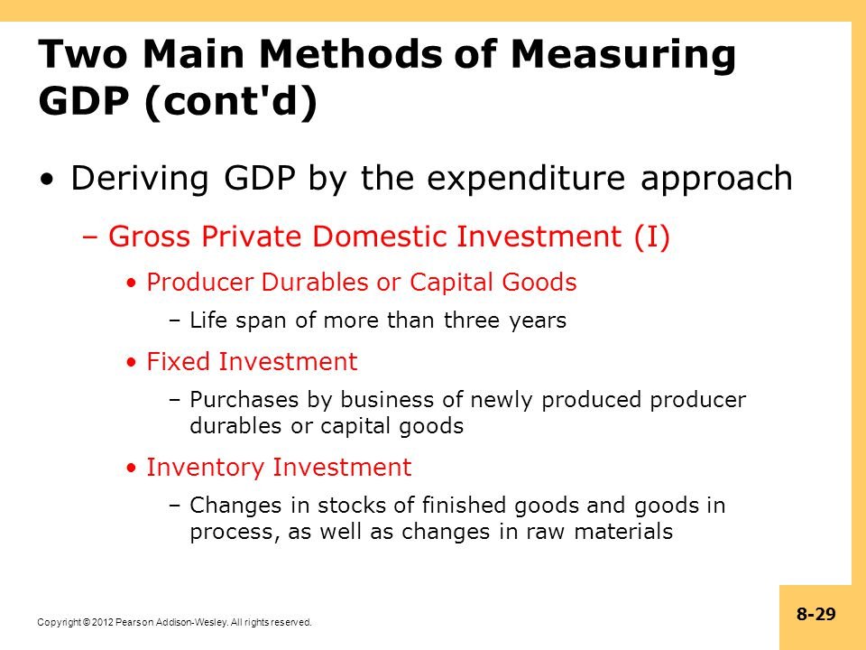 Copyright © 2012 Pearson Addison-Wesley. All rights reserved. 8-29 Two Main Methods of Measuring GDP (cont'd) Deriving GDP by the expenditure approach