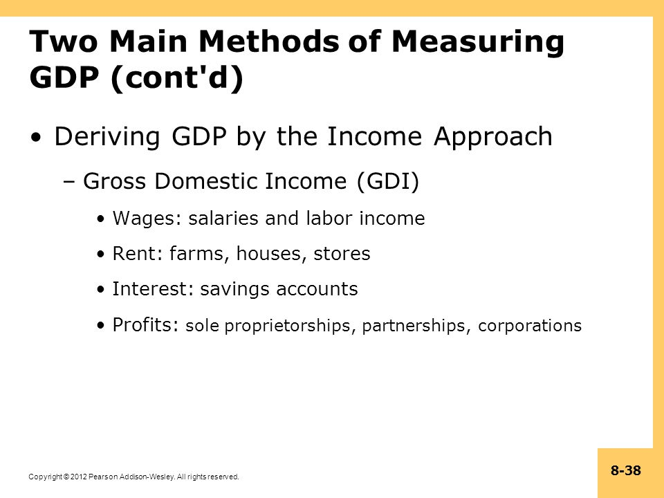 Copyright © 2012 Pearson Addison-Wesley. All rights reserved. 8-38 Two Main Methods of Measuring GDP (cont'd) Deriving GDP by the Income Approach –Gro
