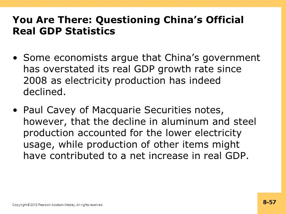 Copyright © 2012 Pearson Addison-Wesley. All rights reserved. 8-57 You Are There: Questioning Chinas Official Real GDP Statistics Some economists argu