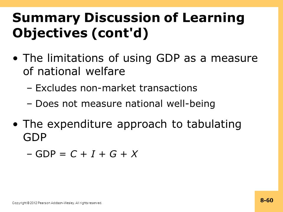 Copyright © 2012 Pearson Addison-Wesley. All rights reserved. 8-60 Summary Discussion of Learning Objectives (cont'd) The limitations of using GDP as