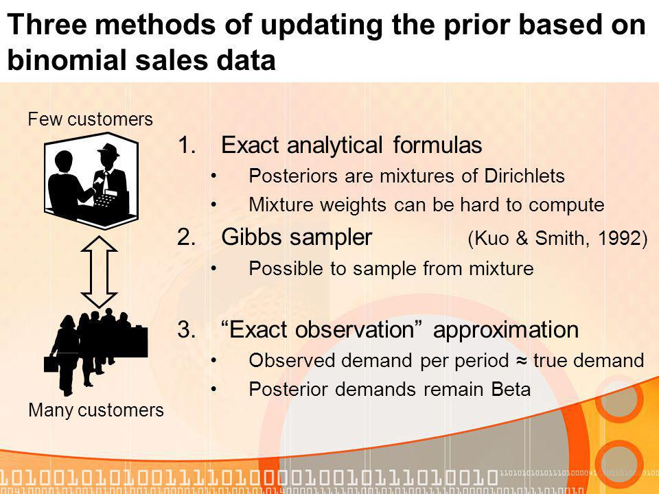 Three methods of updating the prior based on binomial sales data 1.Exact analytical formulas Posteriors are mixtures of Dirichlets Mixture weights can