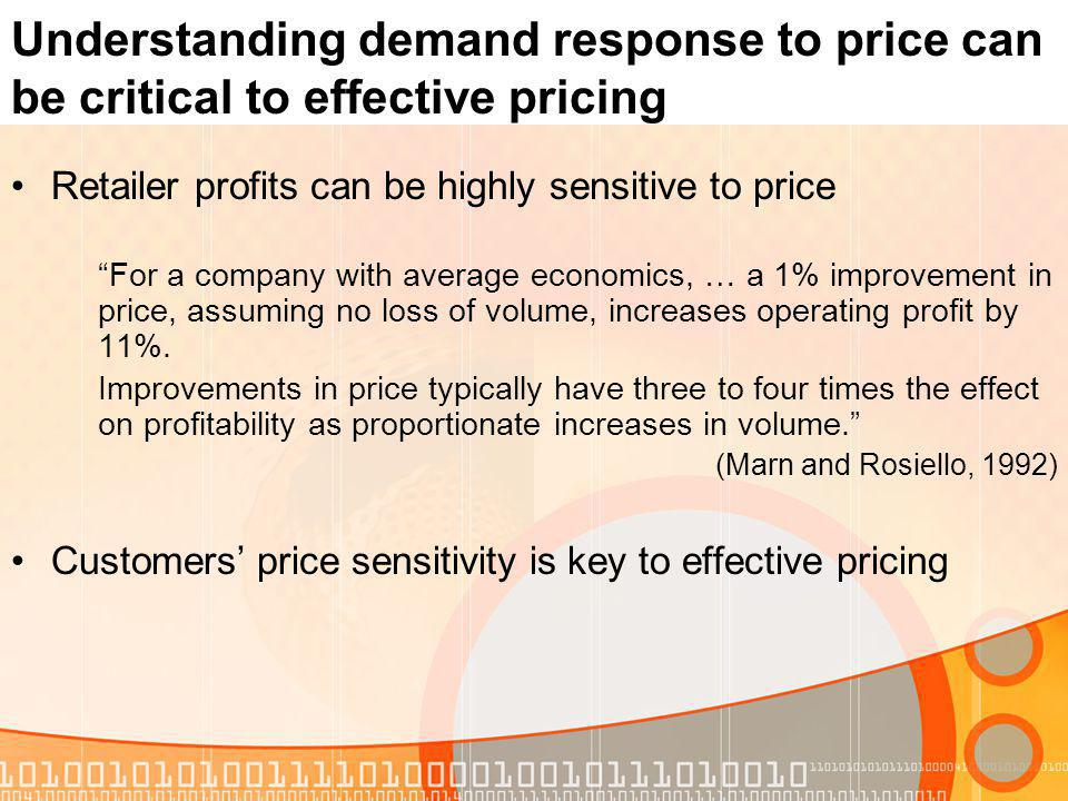Understanding demand response to price can be critical to effective pricing Retailer profits can be highly sensitive to price For a company with avera
