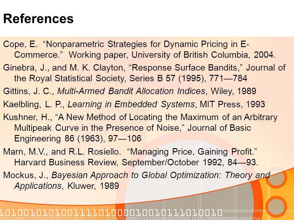 Cope, E. Nonparametric Strategies for Dynamic Pricing in E- Commerce.