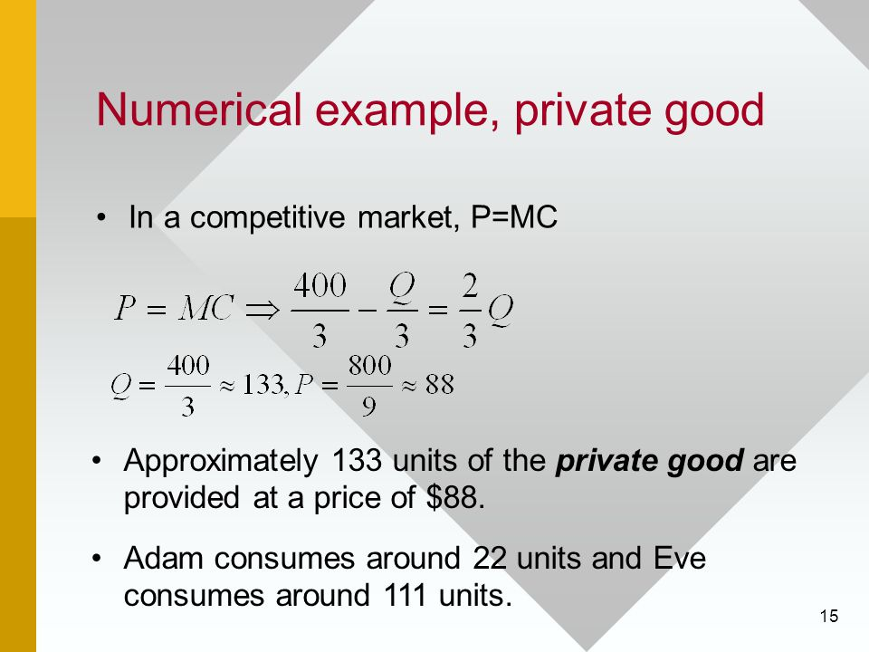 15 Numerical example, private good In a competitive market, P=MC Approximately 133 units of the private good are provided at a price of $88. Adam cons
