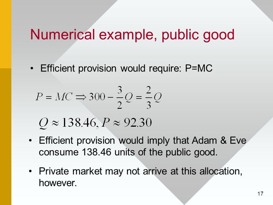 17 Numerical example, public good Efficient provision would require: P=MC Efficient provision would imply that Adam & Eve consume 138.46 units of the