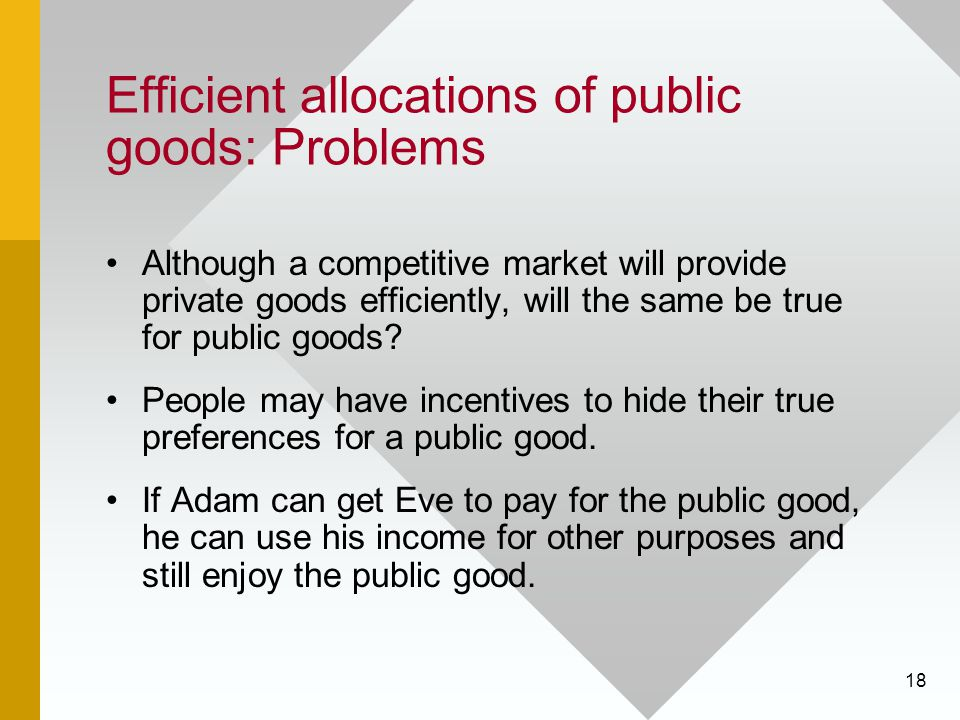 18 Efficient allocations of public goods: Problems Although a competitive market will provide private goods efficiently, will the same be true for pub