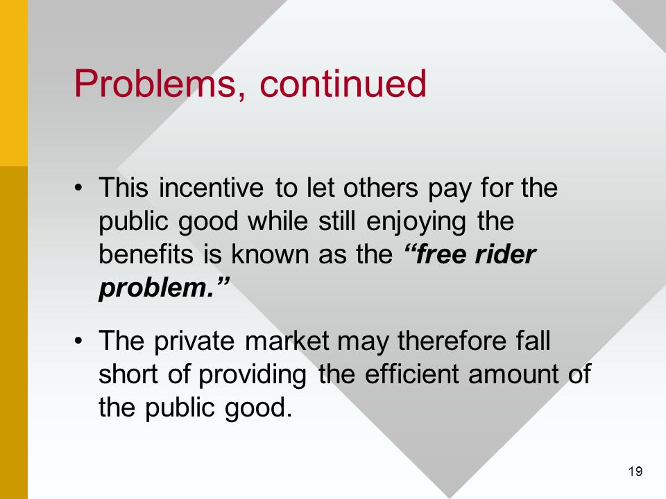 19 Problems, continued This incentive to let others pay for the public good while still enjoying the benefits is known as the free rider problem. The