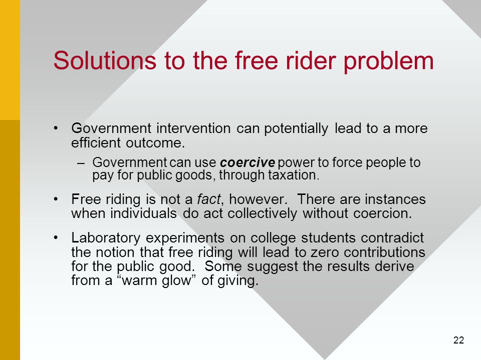 22 Solutions to the free rider problem Government intervention can potentially lead to a more efficient outcome. –Government can use coercive power to