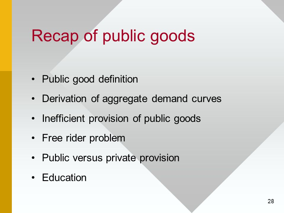 28 Recap of public goods Public good definition Derivation of aggregate demand curves Inefficient provision of public goods Free rider problem Public