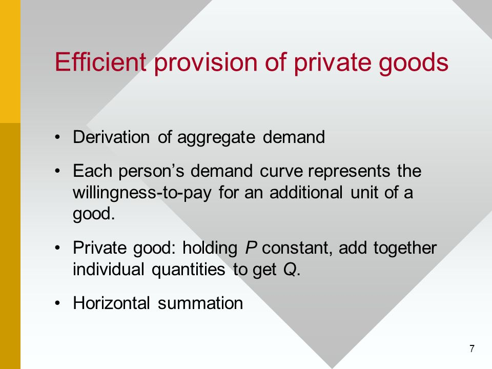7 Efficient provision of private goods Derivation of aggregate demand Each persons demand curve represents the willingness-to-pay for an additional un