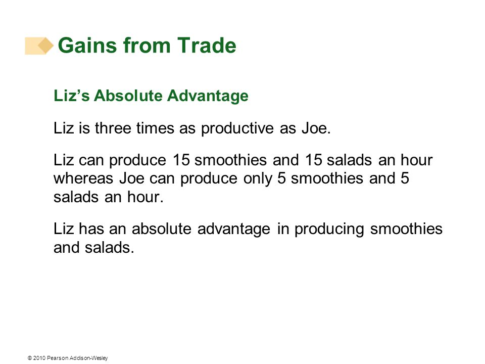 © 2010 Pearson Addison-Wesley Lizs Absolute Advantage Liz is three times as productive as Joe.