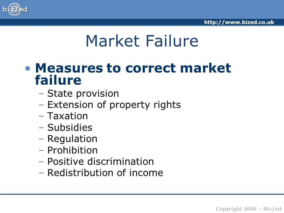 http://www.bized.co.uk Copyright 2006 – Biz/ed Market Failure Measures to correct market failure –State provision –Extension of property rights –Taxat