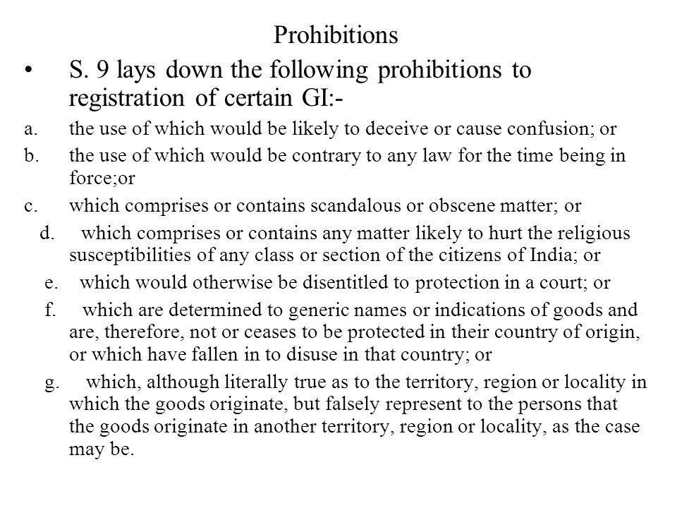 Prohibitions S.