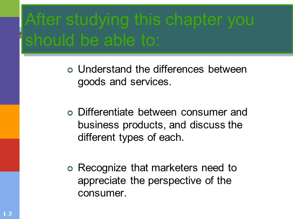 1-3 After studying this chapter you should be able to: Understand the differences between goods and services.