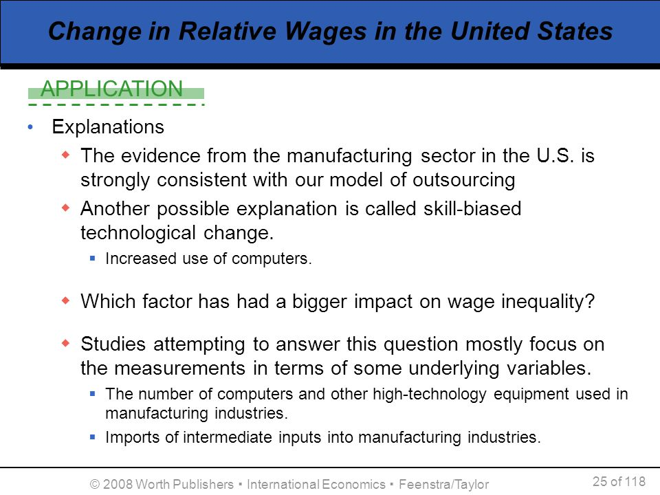 APPLICATION 25 of 118 © 2008 Worth Publishers International Economics Feenstra/Taylor Change in Relative Wages in the United States Explanations The e