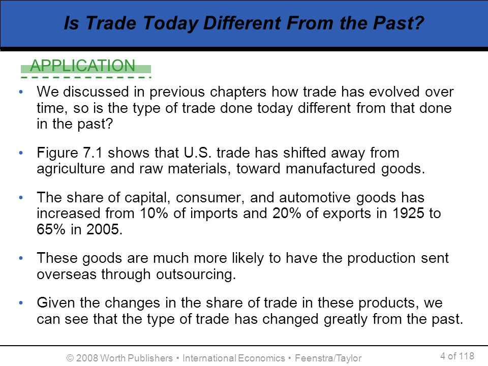 APPLICATION 4 of 118 © 2008 Worth Publishers International Economics Feenstra/Taylor Is Trade Today Different From the Past? We discussed in previous