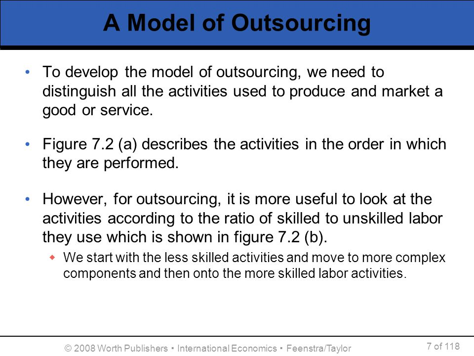 7 of 118 © 2008 Worth Publishers International Economics Feenstra/Taylor A Model of Outsourcing To develop the model of outsourcing, we need to distin