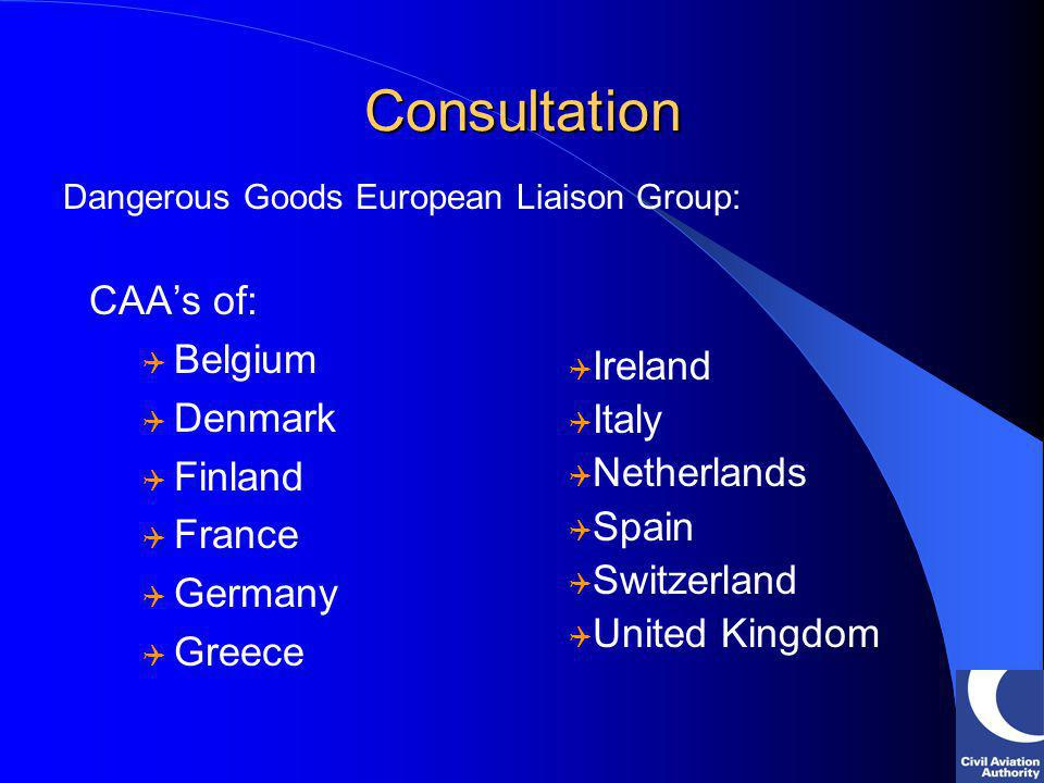Consultation CAAs of: Belgium Denmark Finland France Germany Greece Dangerous Goods European Liaison Group: Ireland Italy Netherlands Spain Switzerlan